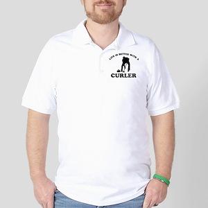 Curler vector designs Golf Shirt