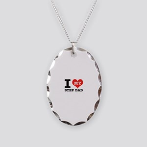 I Love My Step Dad Necklace Oval Charm