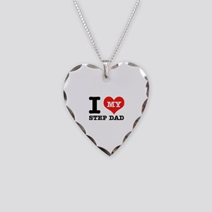 I Love My Step Dad Necklace Heart Charm