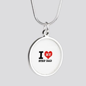 I Love My Step Dad Silver Round Necklace