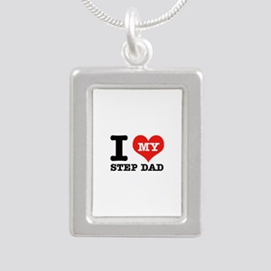 I Love My Step Dad Silver Portrait Necklace
