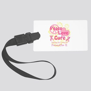 Pink Peace Love Cure Luggage Tag