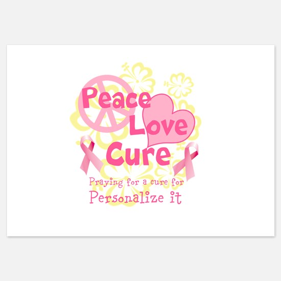 Pink Peace Love Cure Flat Cards