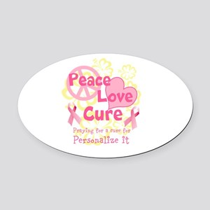 Pink Peace Love Cure Oval Car Magnet