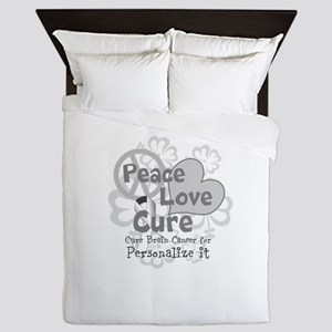 Gray Peace Love Cure Queen Duvet