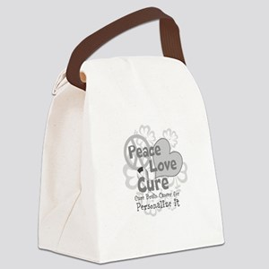 Gray Peace Love Cure Canvas Lunch Bag