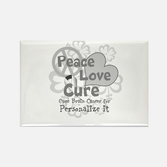 Gray Peace Love Cure Rectangle Magnet