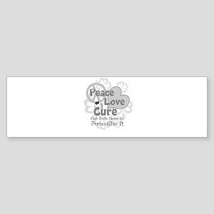 Gray Peace Love Cure Bumper Sticker