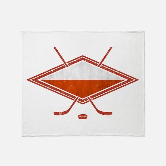 Polski Hokej Na Lodzie Flag Throw Blanket