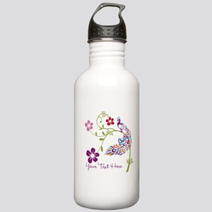 Add Text Colored Peacock Sports Water Bottle
