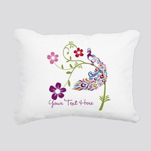 Add Text Colored Peacock Rectangular Canvas Pillow