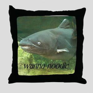 Catfish Noodle Throw Pillow
