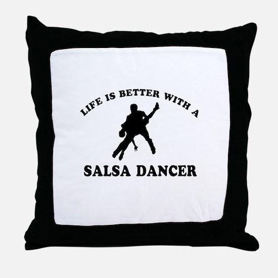 Salsa Dancer vector designs Throw Pillow