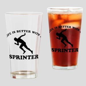 Sprinter vector designs Drinking Glass