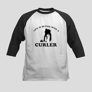 Curler vector designs Kids Baseball Jersey