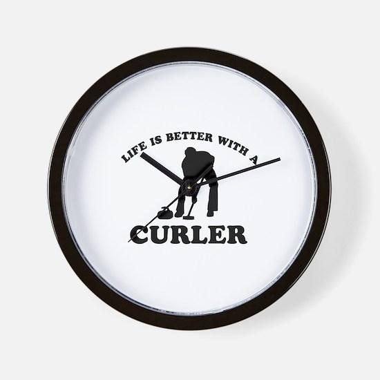 Curler vector designs Wall Clock