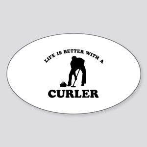 Curler vector designs Sticker (Oval)