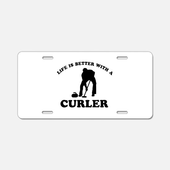 Curler vector designs Aluminum License Plate