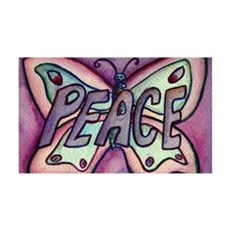 Peace Word Purple Butterfly Wall Decal