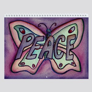 Peace Word Purple Butterfly Wall Calendar