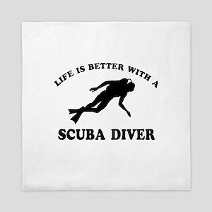 Scuba Diver vector designs Queen Duvet