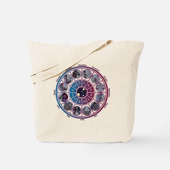 Starlight Zodiac Wheel Tote Bag