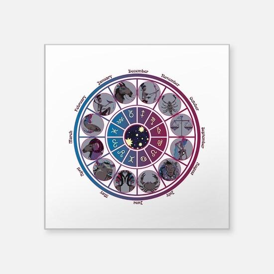 """Starlight Zodiac Wheel Square Sticker 3"""" x 3"""""""