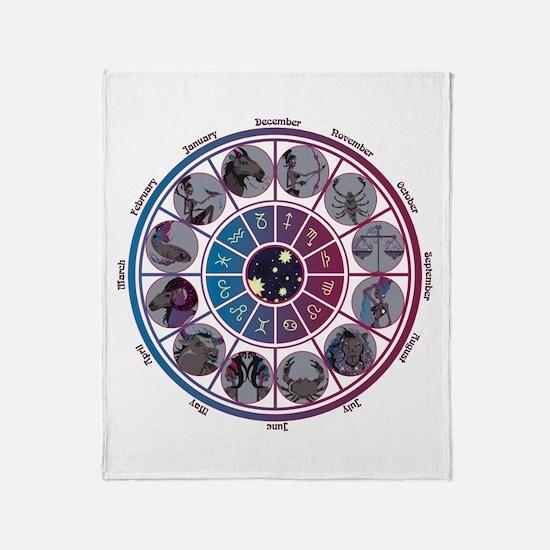 Starlight Zodiac Wheel Throw Blanket