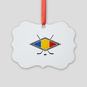 Romanian Ice Hockey Flag Ornament