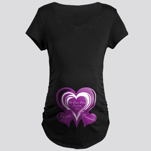 Purple love Triple Heart Maternity Dark T-Shirt