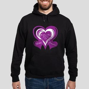 Purple love Triple Heart Hoodie (dark)