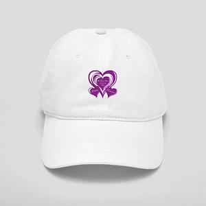 Purple love Triple Heart Cap