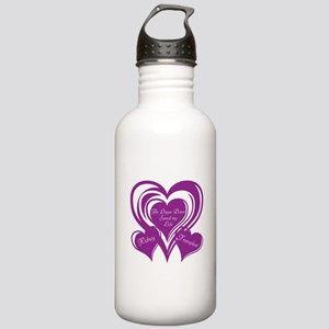 Purple love Triple Heart Stainless Water Bottle 1.