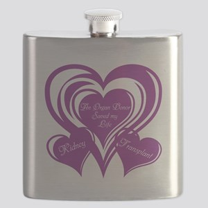 Purple love Triple Heart Flask