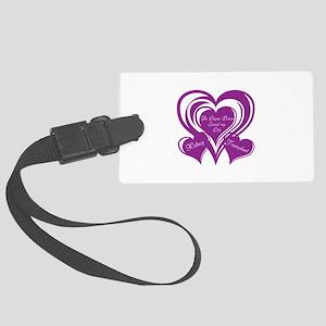 Purple love Triple Heart Large Luggage Tag
