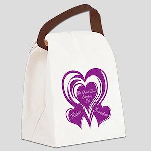 Purple love Triple Heart Canvas Lunch Bag