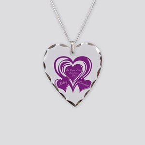 Purple love Triple Heart Necklace Heart Charm