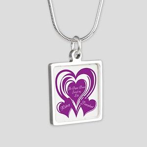 Purple love Triple Heart Silver Square Necklace
