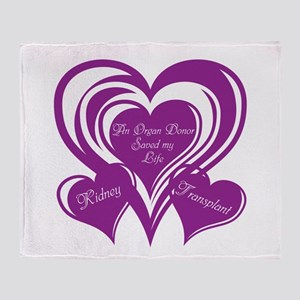 Purple love Triple Heart Throw Blanket