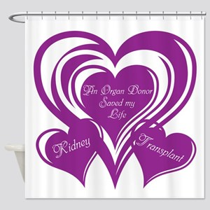 Purple love Triple Heart Shower Curtain