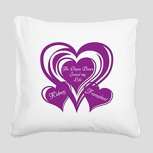 Purple love Triple Heart Square Canvas Pillow