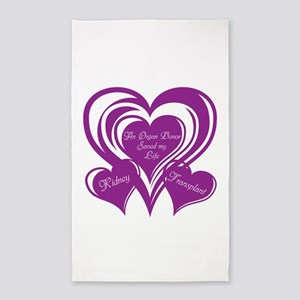 Purple love Triple Heart 3'x5' Area Rug