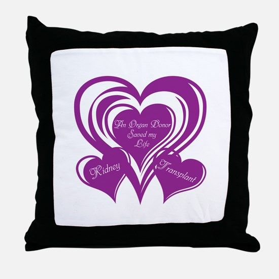 Purple love Triple Heart Throw Pillow
