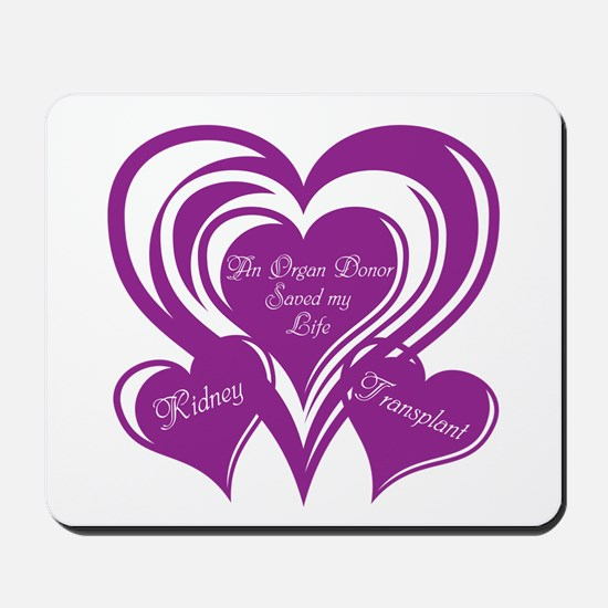 Purple love Triple Heart Mousepad