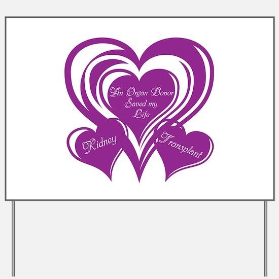 Purple love Triple Heart Yard Sign