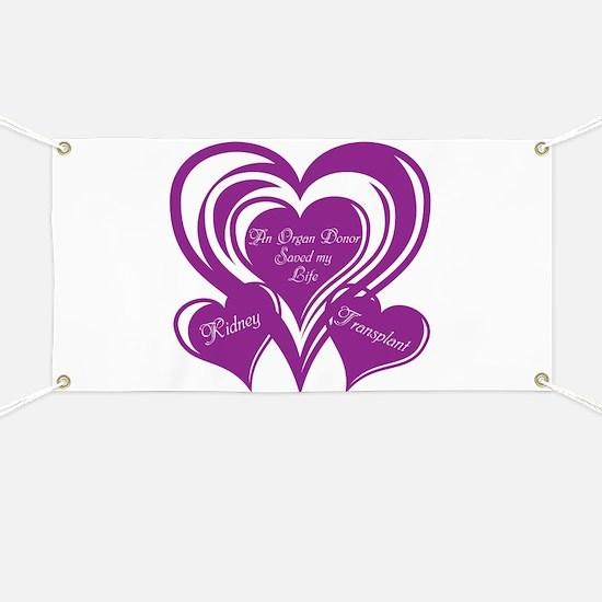 Purple love Triple Heart Banner