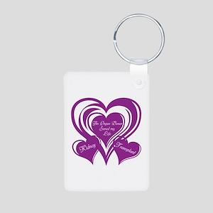 Purple love Triple Heart Aluminum Photo Keychain