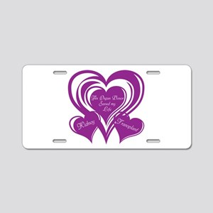Purple love Triple Heart Aluminum License Plate
