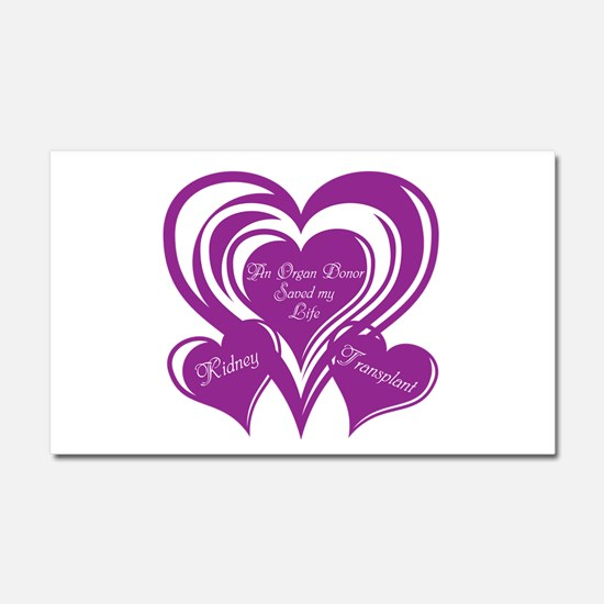 Purple love Triple Heart Car Magnet 20 x 12