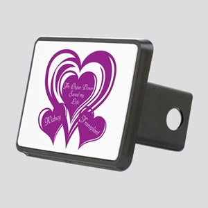 Purple love Triple Heart Rectangular Hitch Cover